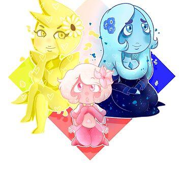 The Diamond Authority / Crystal Gems / Pink Diamond / Blue Diamond / Yellow Diamond / Steven Universe by MamaBearArt