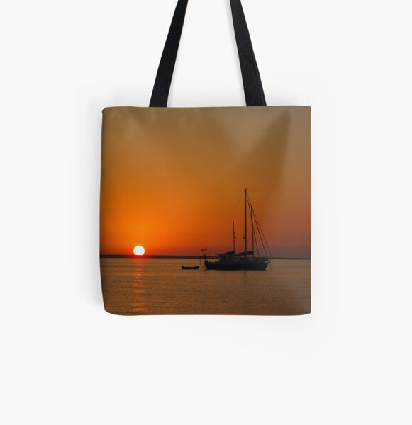 Sailboat at Sunset All Over Print Tote Bag