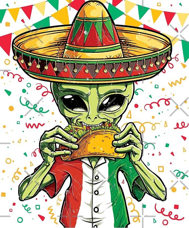 Alien eating taco t shirt cinco de mayo ufo sombrero flag by liquegifts
