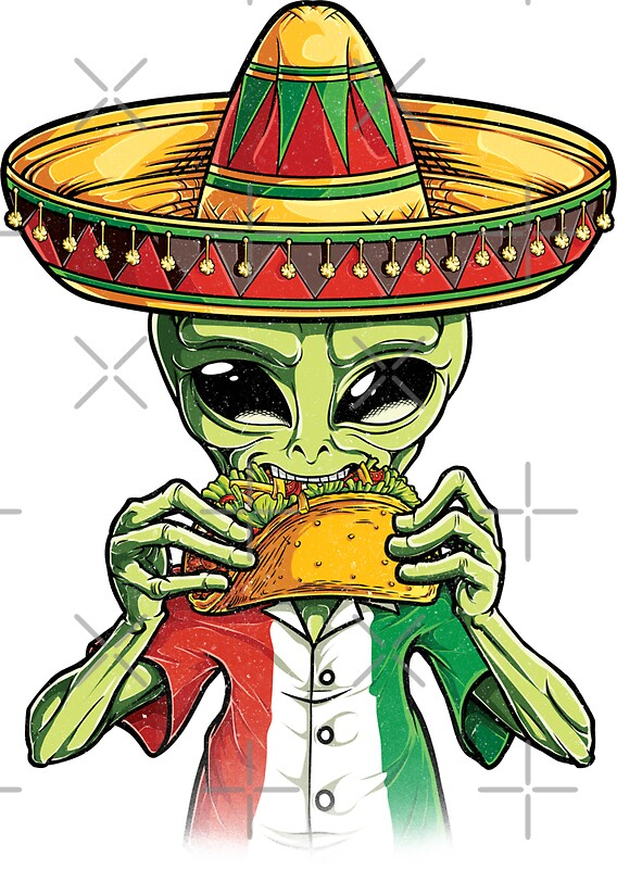 Alien eating taco t shirt cinco de mayo ufo sombrero flag by liquegifts