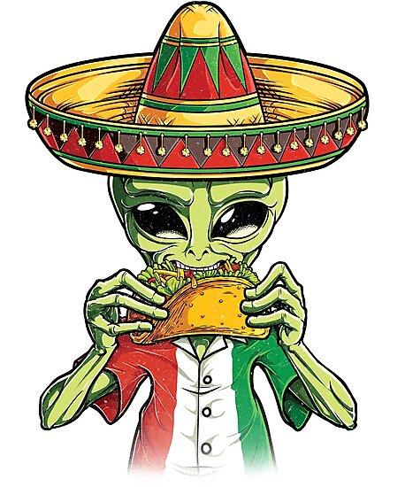 dbe31e13c408e0 Láminas fotográficas «alien eating taco shirt cinco de mayo ufo jpg 458x550  Aliens eating tacos