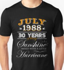 30th Birthday Gifts - 30th Wedding Anniversary Memorable Gifts - July 1988 Unisex T-Shirt