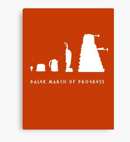 Dalek March of Progress White Canvas Print