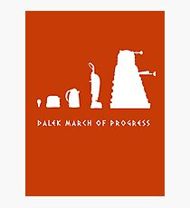 Dalek March of Progress White Photographic Print
