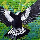 Swooping Magpie,  Springtime by Karin Zeller