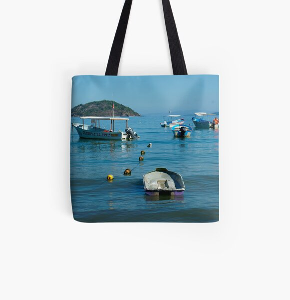 Boats Off Shore All Over Print Tote Bag