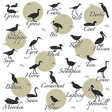 Shorebird Silhouette - khaki dots by 40degreesSouth
