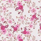 Boho Roses, Plum Magenta Dove Grey by ThistleandFox