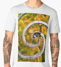 Rusty spiral decorations on an old neglected ornamental iron fence  Men's Premium T-Shirt
