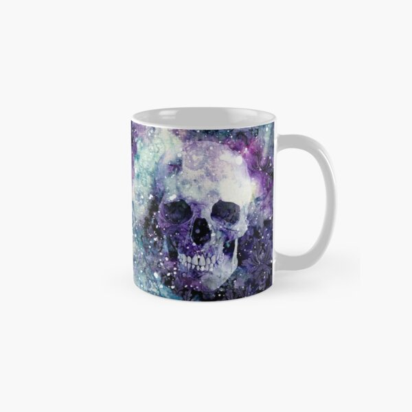 Purple Green Nebula Damask Skull Mug Classic Mug