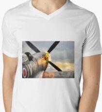 Spitfire FIRING UP - Fantastic Spitfire WWII art - world war 2 art / aviation art Men's V-Neck T-Shirt
