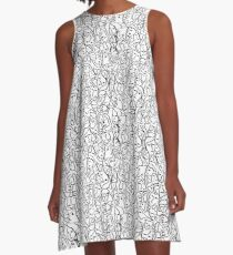 Call Me By Your Name Mini Elio Shirt Faces in Black Outlines on White CMBYN A-Line Dress