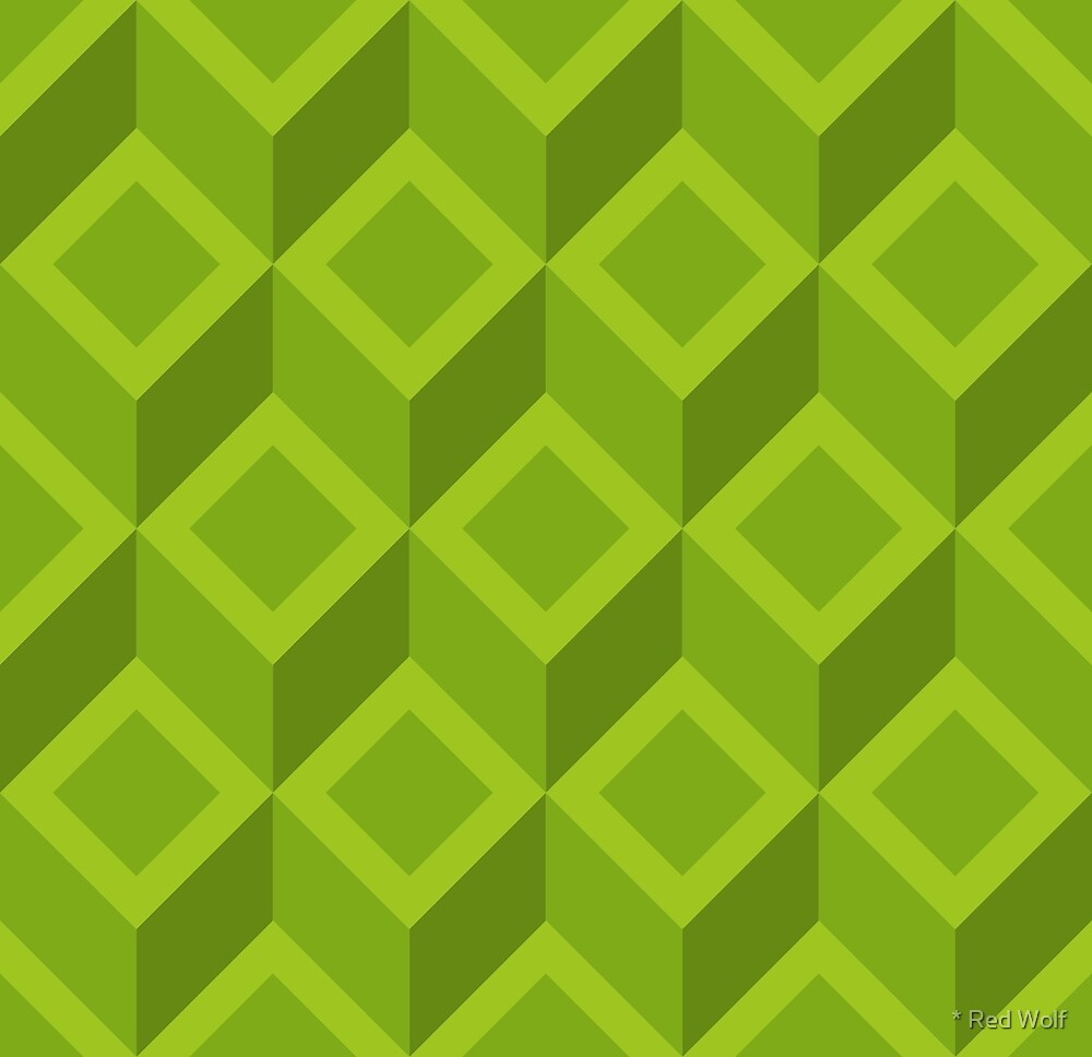 Geometric Pattern: Diamond Chevron: Green by * Red Wolf