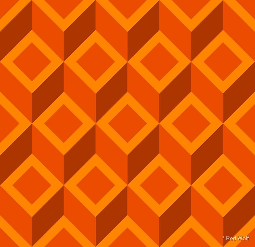 Geometric Pattern: Diamond Chevron: Orange by * Red Wolf