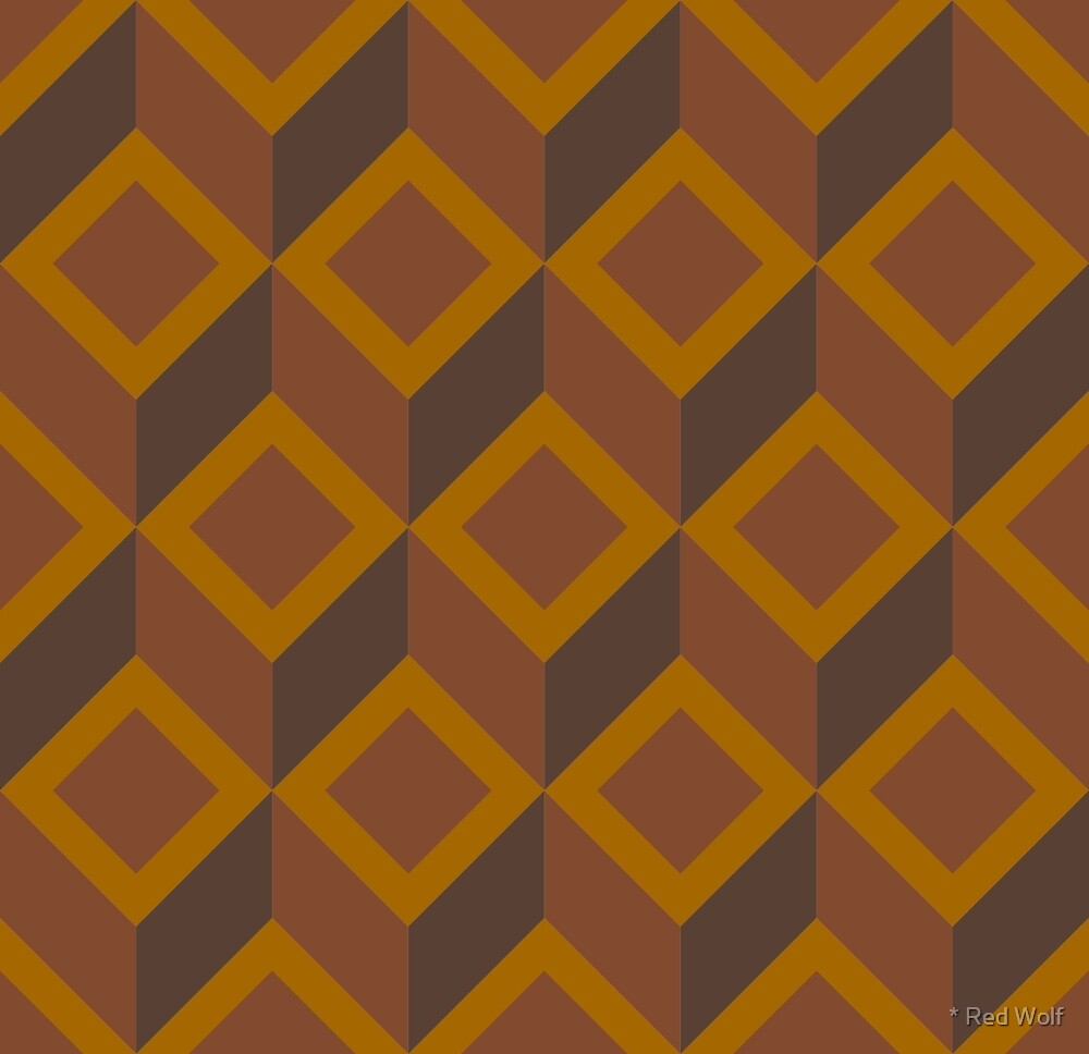 Geometric Pattern: Diamond Chevron: Brown by * Red Wolf