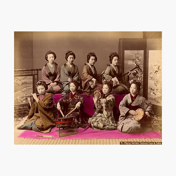 Group of Geisha playing music Photographic Print