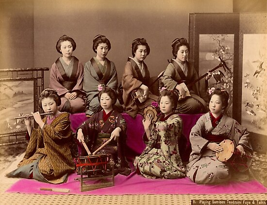 Group of Geisha playing music by Fletchsan