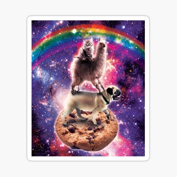 Space Cat Llama Pug Riding Cookie Sticker