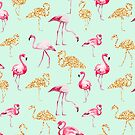 Mint gold flamingo by peggieprints