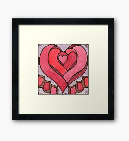 Stained Hearts Framed Print