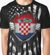 Croatian American Flag USA Croatia Graphic T-Shirt
