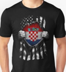 Kroatische amerikanische Flagge USA Kroatien Slim Fit T-Shirt