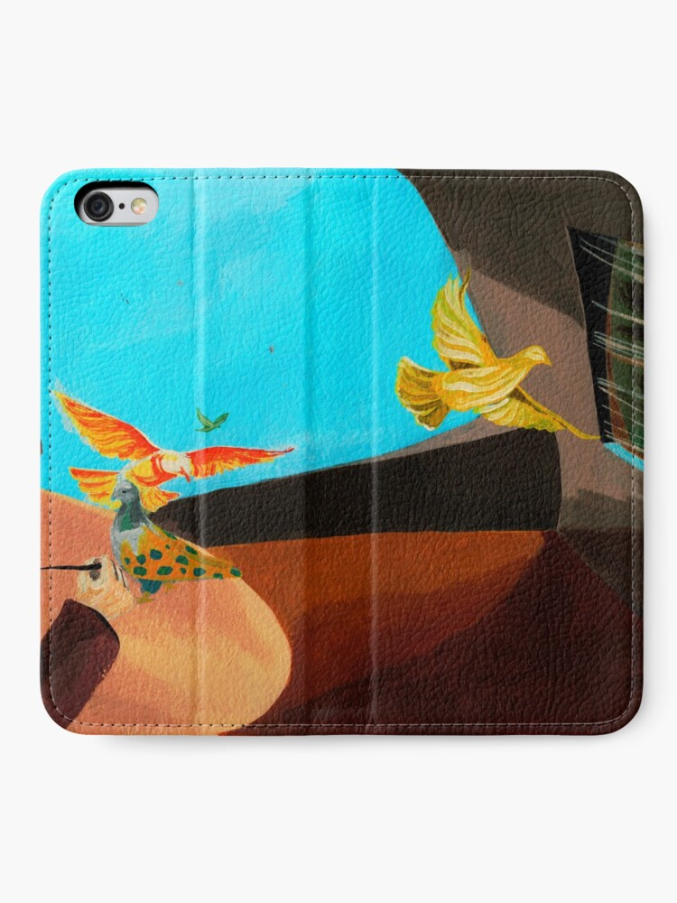 Alternate view of Old man painting pigeons children's book illustration iPhone Wallet