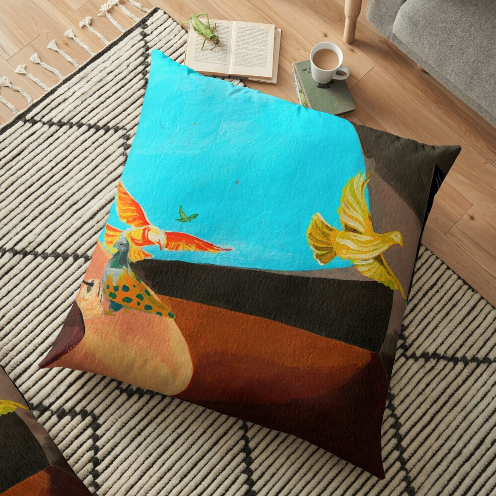 Old man painting pigeons children's book illustration Floor Pillow