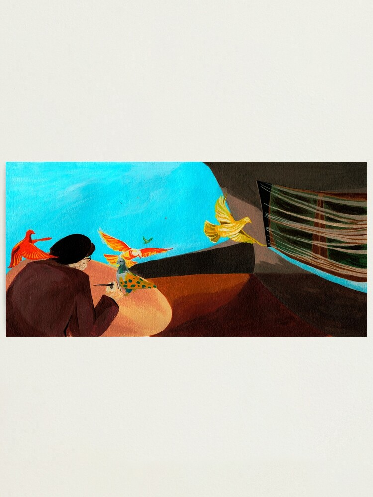 Alternate view of Old man painting pigeons children's book illustration Photographic Print