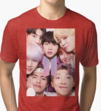 Camiseta de tejido mixto BTS Group PHOTO Case / Poster ECT (Selfie) con logotipo 2018