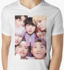 BTS Group PHOTO Case / Poster ECT ( Selfie ) With Logo 2018 Men's V-Neck T-Shirt