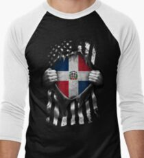Dominican American Flag USA Dominican Republic Men's Baseball ¾ T-Shirt