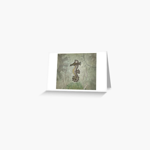 Sir Angustus Finn - Nautical Steampunk Seahorse Greeting Card