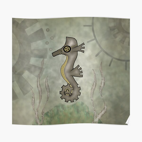 Sir Angustus Finn - Nautical Steampunk Seahorse Poster