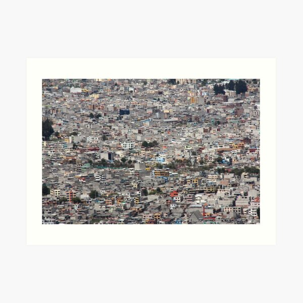 Quito, Ecuador dense urban city concrete buildings Art Print