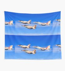 A formation of 2 F-16 and one F-15 Israeli Air Force fighter jets on a blue sky background Wall Tapestry