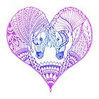 «Zentangle Horse, Horses in love, Forma del corazón» de RomanDigitalArt