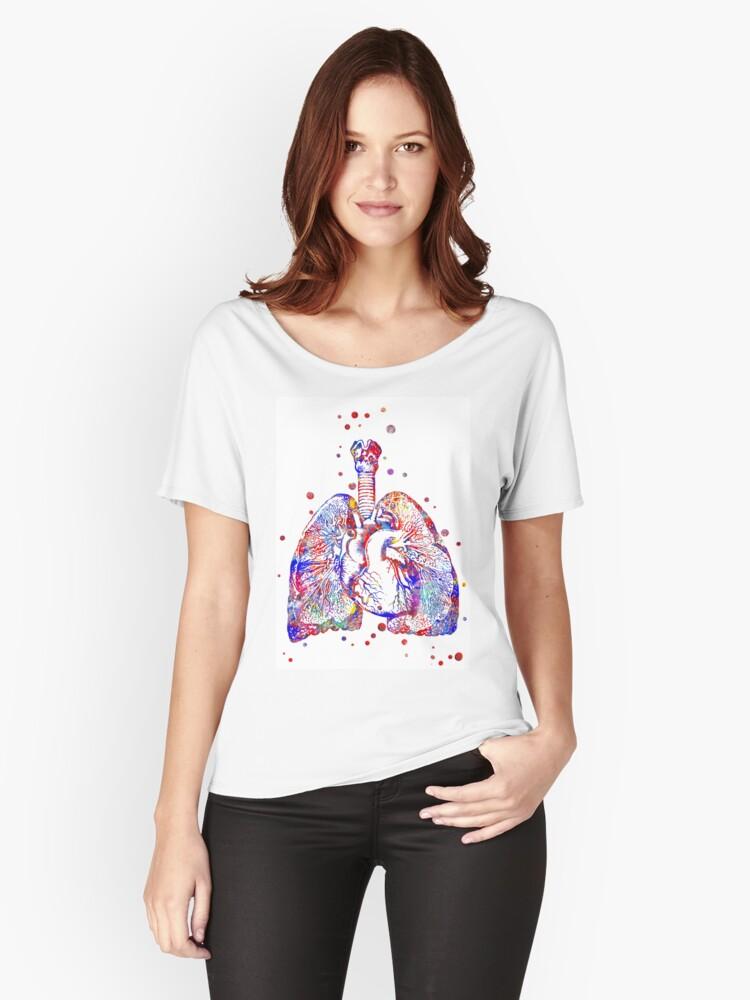Camisetas anchas para mujer «Corazón y pulmones, arte del corazón ...