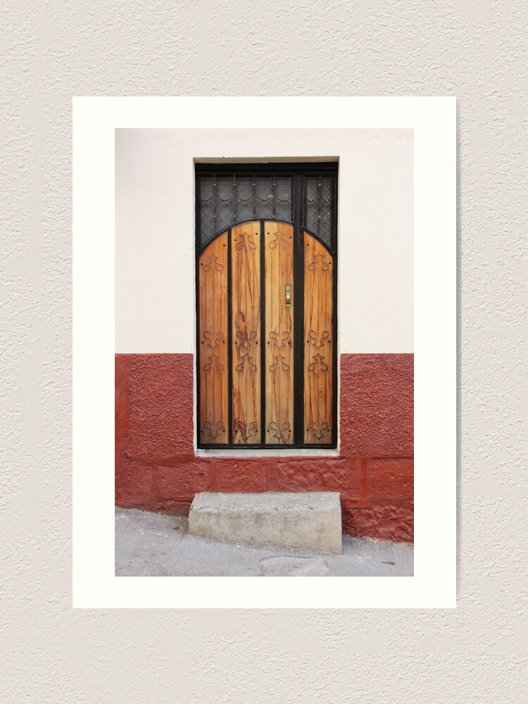 Alternate view of Wood panel door inset in stucco and concrete block stone wall with concrete step on incline Art Print