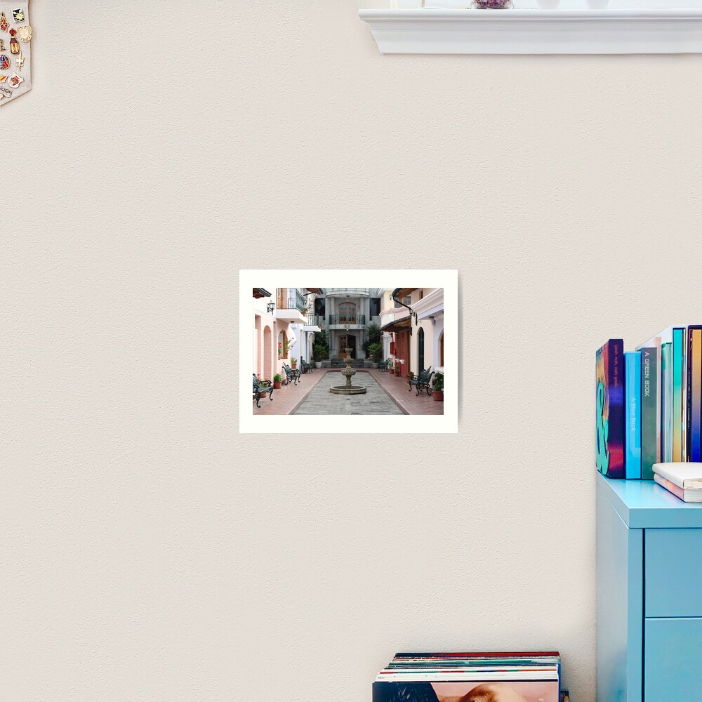 Secluded interior courtyard with private fountain, Ecuador Art Print