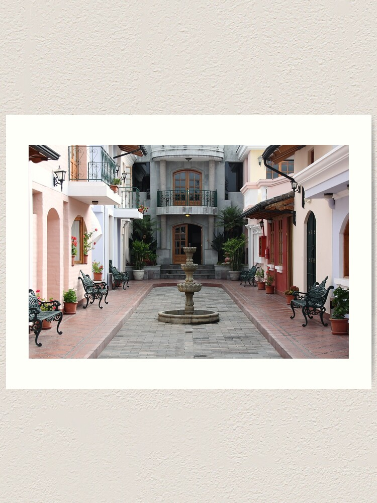 Alternate view of Secluded interior courtyard with private fountain, Ecuador Art Print