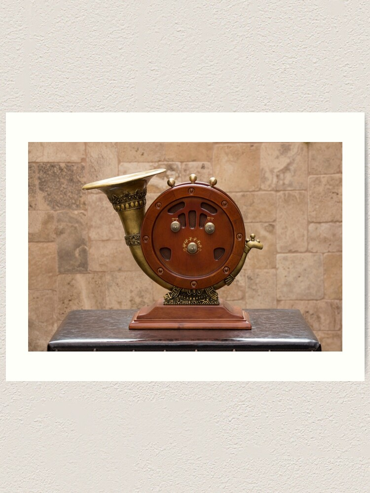 Alternate view of Antique round wood AM/FM radio with brass horn ornate speaker on pedestal on table Art Print
