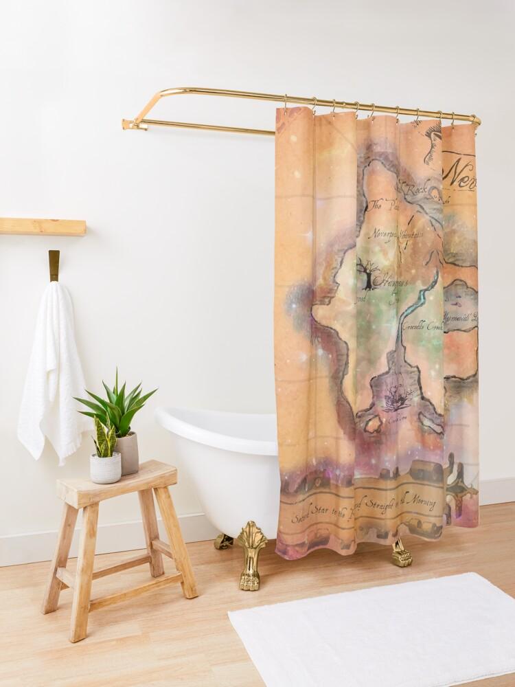 Alternate view of Neverland Map  Shower Curtain