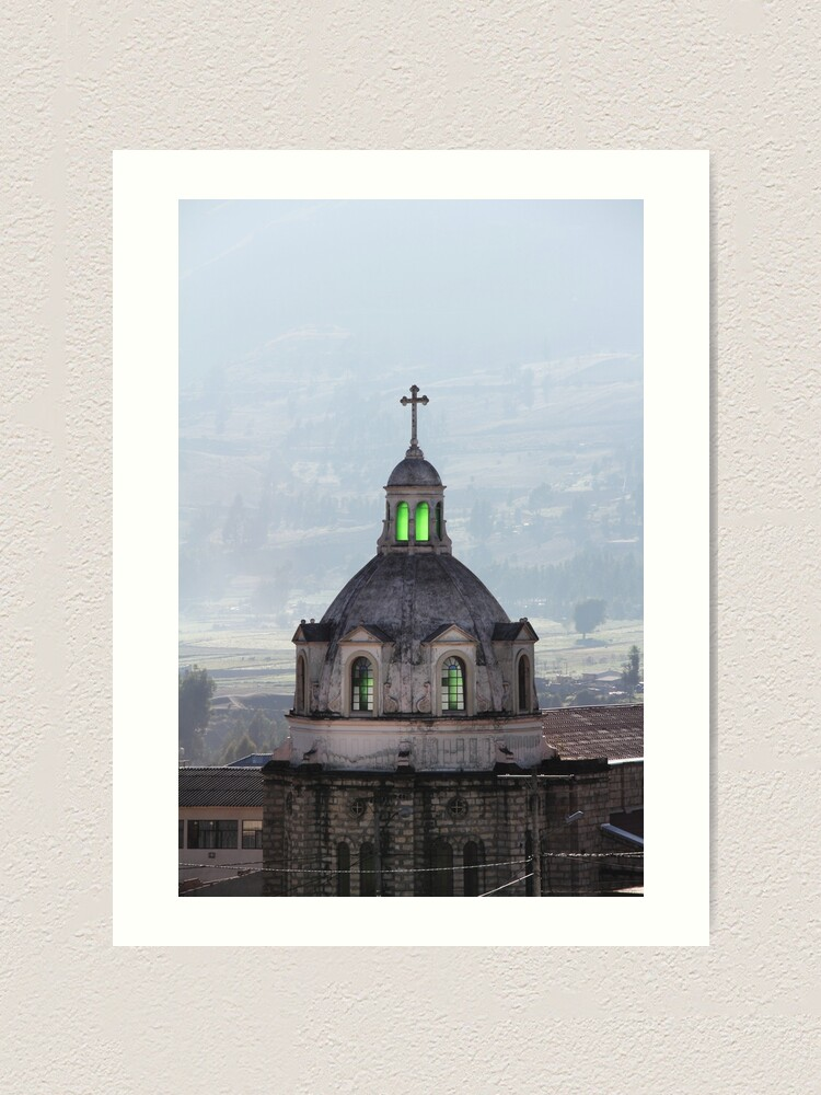 Alternate view of Guamote, Ecuador catholic church spire with cross, with green glowing stained glass windows Art Print