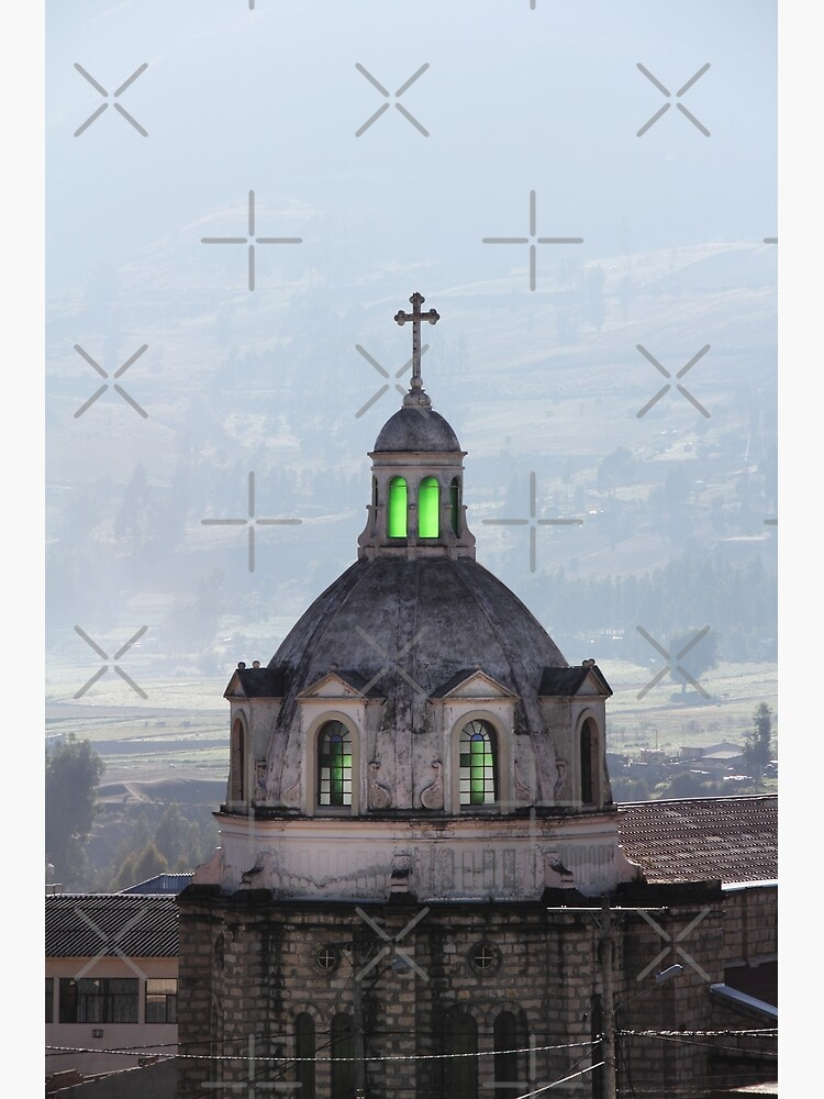 Guamote, Ecuador catholic church spire with cross, with green glowing stained glass windows by kpander