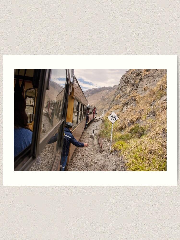 Alternate view of Devil's Nose train ride with conductor, Ecuador Art Print