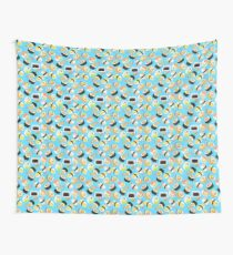 Blue Sushi Addiction Pattern Wall Tapestry