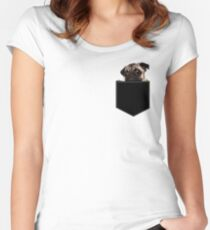 Pug Pocket Women's Fitted Scoop T-Shirt