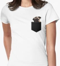 Pug Pocket Women's Fitted T-Shirt