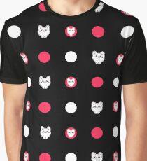 Cute tiny Kawaii Cat Chibi kitten pink pattern Graphic T-Shirt